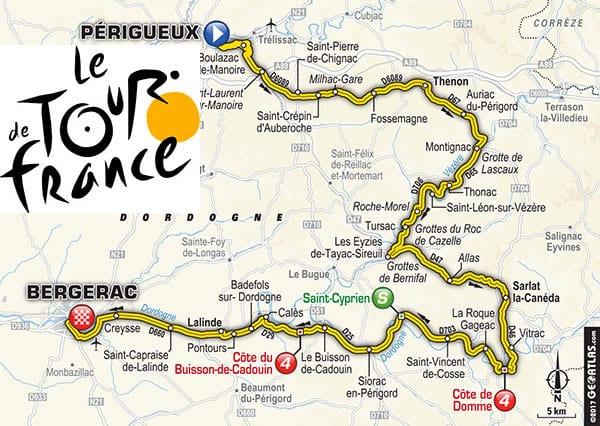 Tour de France 2017 hotel la rocque Gageac sur le passage du Tour