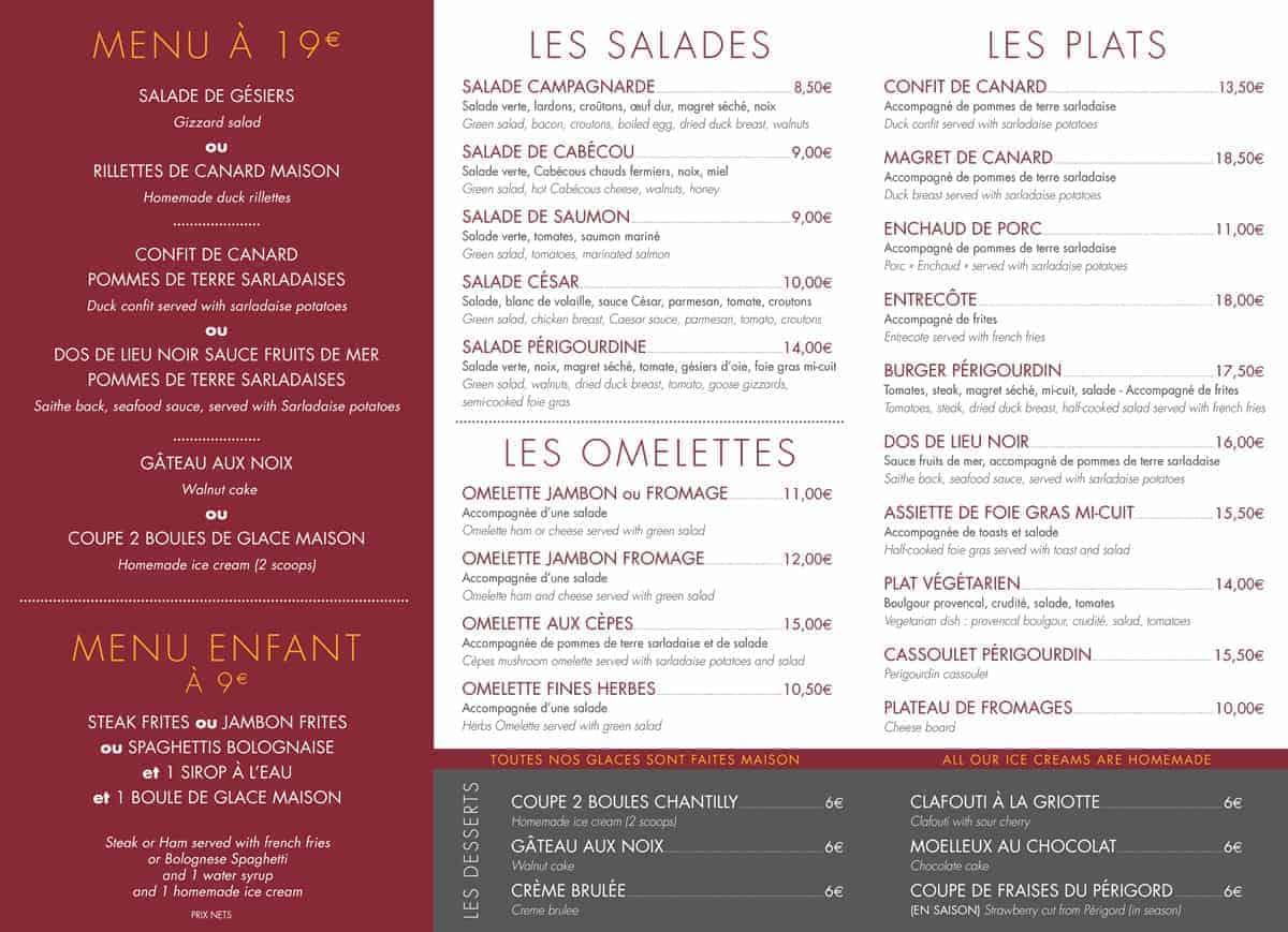 menu restaurant la roque gageac